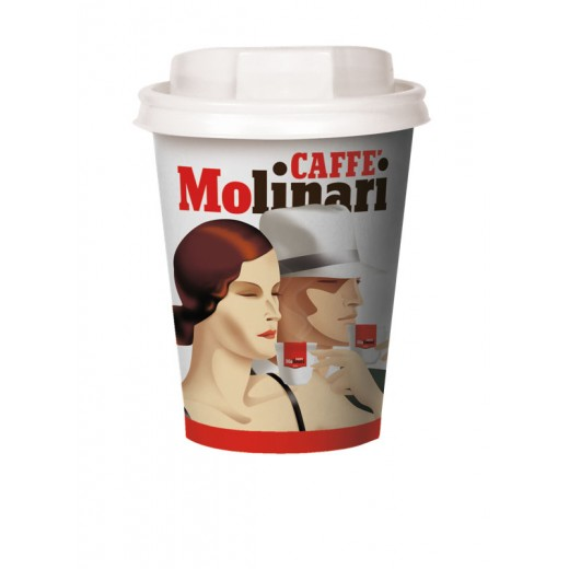 9oz Paper cup Molinari with plastic lid - 50pcs
