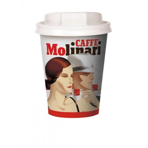 9oz Paper cup Molinari with plastic lid - 50pcs